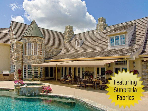 SunSetter Platinum retractable awnings featuring Sunbrella fabrics