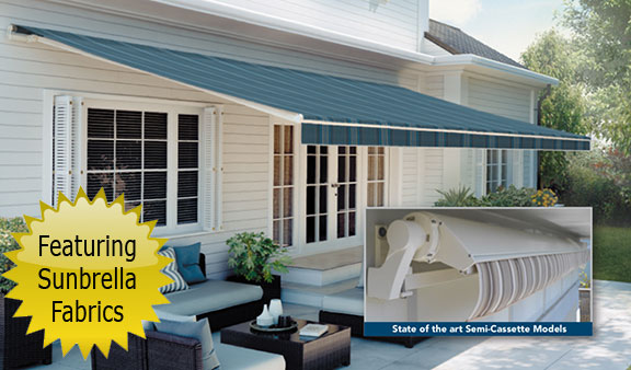 SunSetter Platinum Plus retractable awnings featuring Sunbrella fabrics